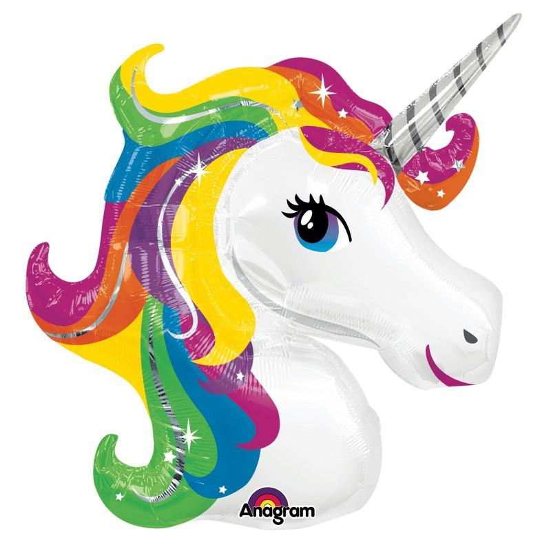 Bien connu ballon alu forme licorne blanche arc-en-ciel anniversaire cheval EO79