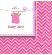 Serviettes Cocktail Baby Shower rose It's a baby girl