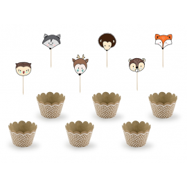 Kit Cup Cakes Thème Anniversaire Rusé comme un renard Animaux de la forêt