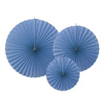 3 Rosaces Bleu Eventails à Suspendre Assortis