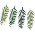 6 Décorations Feuilles Jungle En Papier Vert Foncé Décorations