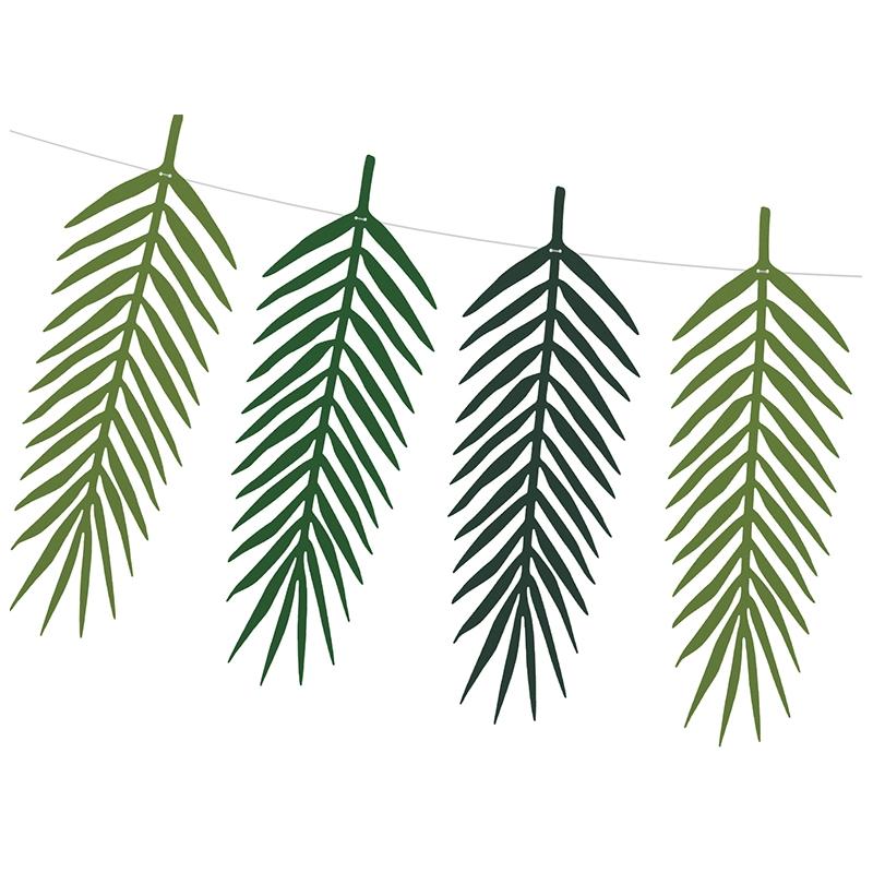 D coration feuilles foug res vertes flamant tropiques anniversaire - Decoration de feuille de papier ...