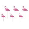 6 Grands Piques Cup Cake Flamant Rose Flamingo Sweet Table en plastique