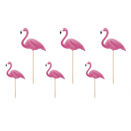 6 Grands Piques Cup Cake Flamant Rose Flamingo Sweet Table en plastique