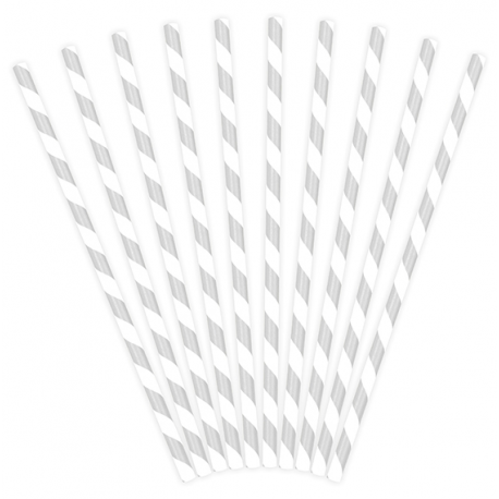10 Pailles Rétro Rayées Gris argent et Blanc