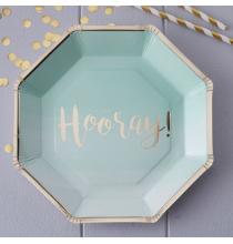 """Assiettes """"Hooray"""" Vert Mint et Doré"""