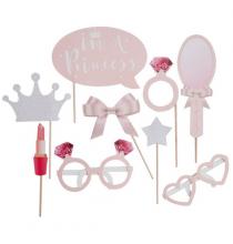 9 Accessoires Photobooth Princesse Fée Diadème Rose et Argent