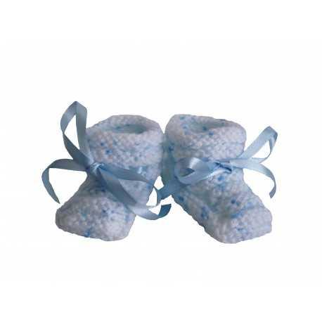 Chaussons bébé en laine chinée bleue mybbshowershop