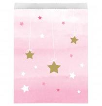 10 Sachets Cadeaux Invités Etoiles Rose pastel et doré Little Star rose et doré