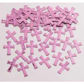 Confettis roses Baptême Communion Croix