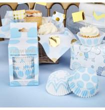 100 Moules à Cup cakes en papier Bleu Pois et Chevron