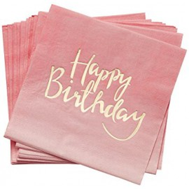 Serviettes Rose et Doré Happy Birthday Anniversaire