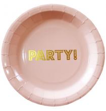 """Grandes Assiettes """"Party""""  - Rose Poudré et Doré Anniversaire"""