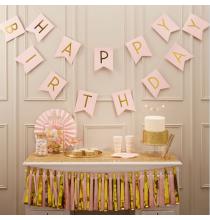 Banderole Fanions Premium Happy Birthday - Rose Poudré et Doré Anniversaire