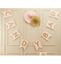 Banderole Fanions Premium Candy Bar - Rose Poudré et Doré Anniversaire