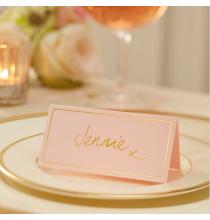 10 Etiquettes de Table - Rose Poudré et Doré