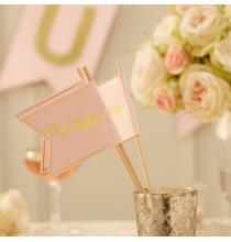 10 Grands Piques Hooray Décoration - Rose Poudré et Doré