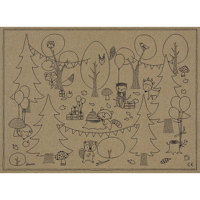 Coloriage Foret Renard.Animation Sets De Table A Colorier Ruse Renard Anniversaire A Theme