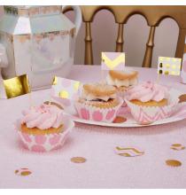 20 piques cup cakes Rose et Doré