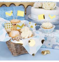 20 Piques Cup Cakes Bleu et Doré