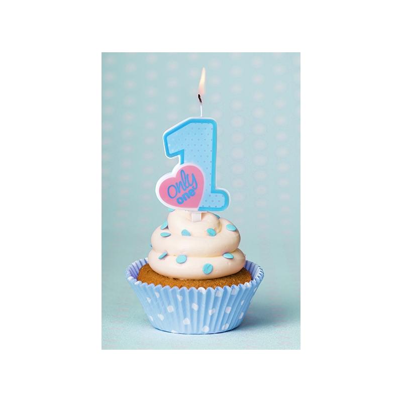 Bougie Premier Anniversaire Bébé Chiffre 1 Un Bleu Clair Cup Cake