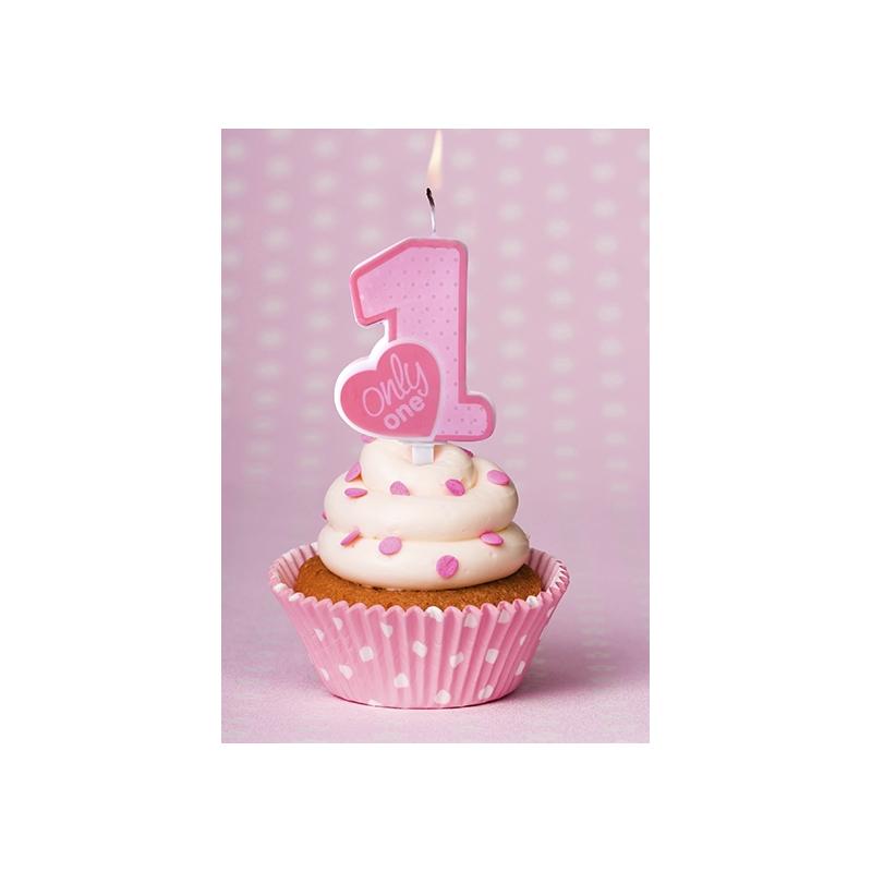Image Anniversaire 1 An bougie mon premier anniversaire bébé chiffre 1 un pois rose