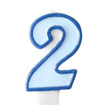 Bougie Bleue 2 Chiffre Deux - Deuxième Anniversaire