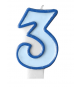 Bougie Bleue 3 Chiffre Trois - Troisième Anniversaire