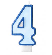 Bougie Bleue 4 Chiffre Quatre - Quatrième Anniversaire