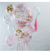 3 Ballons XXL Transparents Confettis Colorés Party Anniversaire Enfant