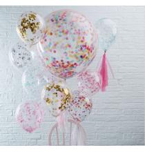3 Grandes Rosaces avec Confettis Colorés Party Anniversaire Enfant