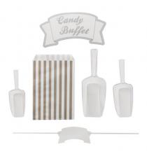 Kit Candy Bar de Fête Gris et Blanc