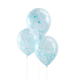 5 Ballons Transparent Latex Confettis Bleu