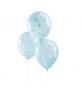 5 Ballons Transparent Latex Confettis Bleu