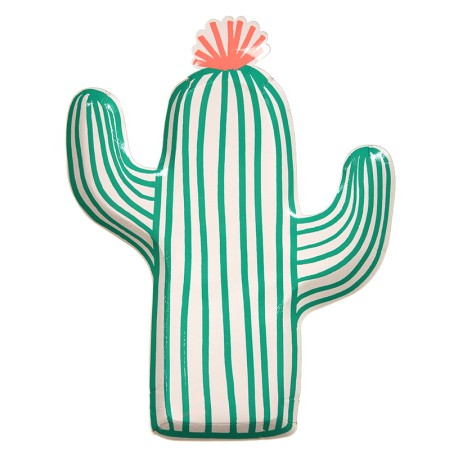 12 Grandes Assiettes Cactus Party Anniversaire et Fête