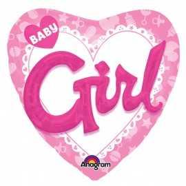 Ballon 3D XXL Coeur et Lettres Baby Girl Naissance Bébé