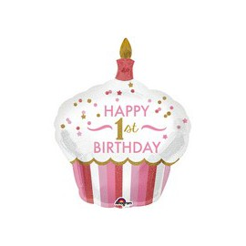 Ballon Géant Cup Cake Premier Anniversaire First Birthday Girl