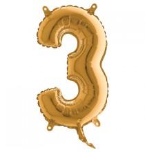 Ballon 35cm Alu Or Doré Chiffre 3 Ans Fête d'Anniversaire enfant