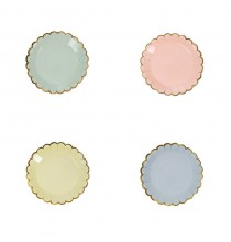 8 Petites Assiettes Pastel & Doré Bleu Rose Vert et Jaune Vaisselle Jetable