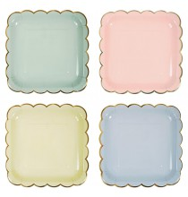 8 Grandes Assiettes Carré Pastel & Doré Bleu Rose Vert et Jaune Vaisselle Jetable