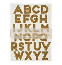 Stickers Alphabet Adhésif Glitter Doré