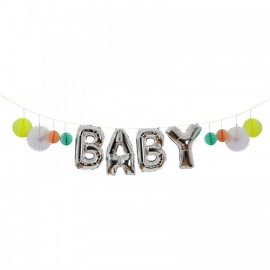 Ballons Lettres Alu Argent Baby Shower