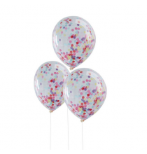 5 Ballons Transparens Confettis Colorés Party Anniversaire Enfant