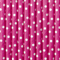 25 Pailles Rétro Rose Fushia Etoiles Blanches