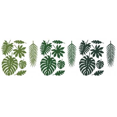 21 Décorations Feuilles Jungle En Papier Vert Foncé Décorations