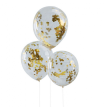 5 Ballons Gonflables Latex Confettis Dorés Premium Fête