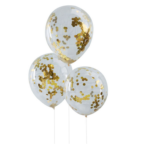 6 Ballons Gonflables Latex Confettis Dorés Fête