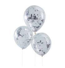 6 Ballons Confettis Argent Fête