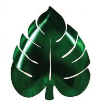 Grandes Assiettes Feuilles Jungle En Papier Vert Foncé Vaisselle Jetable