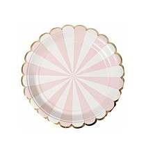 Grandes Assiettes Rose Pastel Rayées Blanc - Candy Party